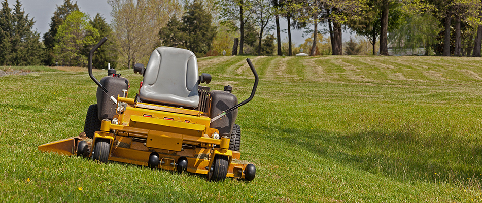A yellow lawnmower sitting vacant on a grassy lawn in East Lansing, MI.