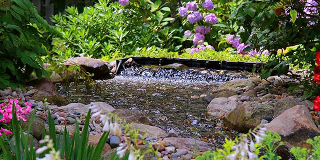 Landscaping water feature in East Lansing, Michigan